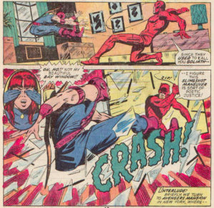 Daredevil swings Hawkeye through a window, as seen in Daredevil #99 by Steve Gerber and Sam Kweskin