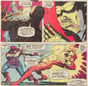 Daredevil shields his eyes from one of Hawkeye's trick arrows, as seen in Daredevil #99 by Steve Gerber and Sam Kweskin