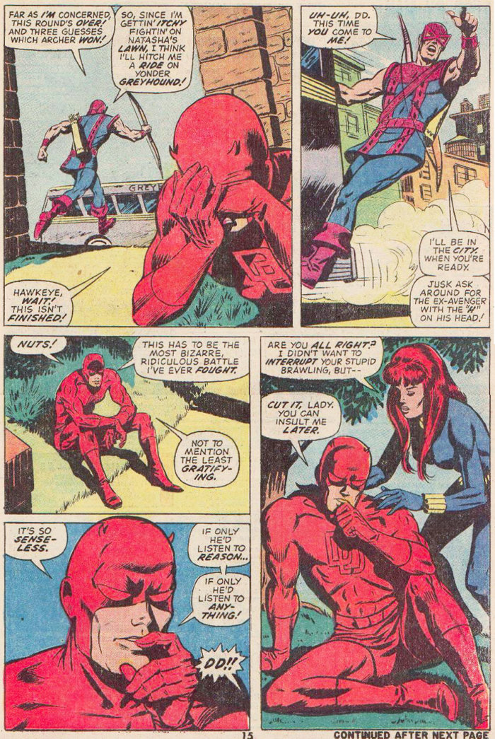 Daredevil ponders his encounter with Hawkeye, as seen in Daredevil #99 by Steve Gerber and Sam Kweskin