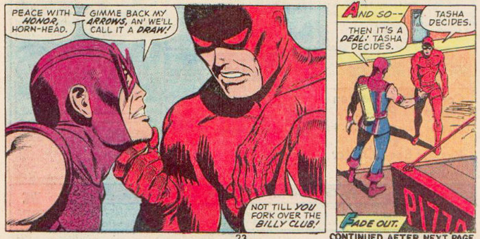 Daredevil and Hawkeye decide to call it a draw, in Daredevil #99 by Steve Gerber and Sam Kweskin