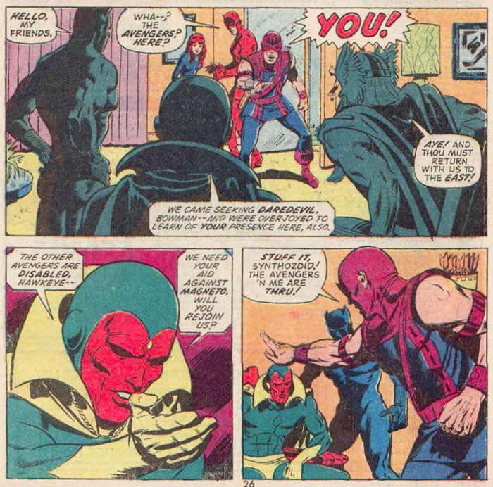 Hawkeye yells at the Avengers, in Daredevil #99 by Steve Gerber and Sam Kweskin