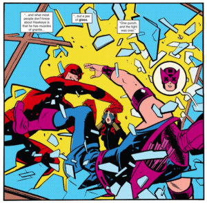 Daredevil punches Hawkeye through a window, as seen in Daredevil #11 by Mark Waid and Chris Samnee