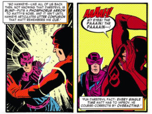 Matt remembers Hawkeye's trick arrow, as seen in Daredevil #11 by Mark Waid and Chris Samnee