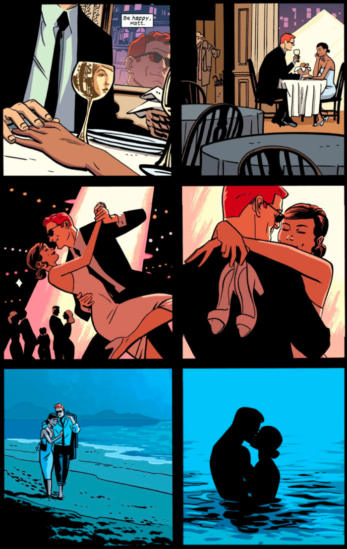 A perfect opening page: Matt and Kirsten, as seen in Daredevil #13 by Mark Waid and Chris Samnee