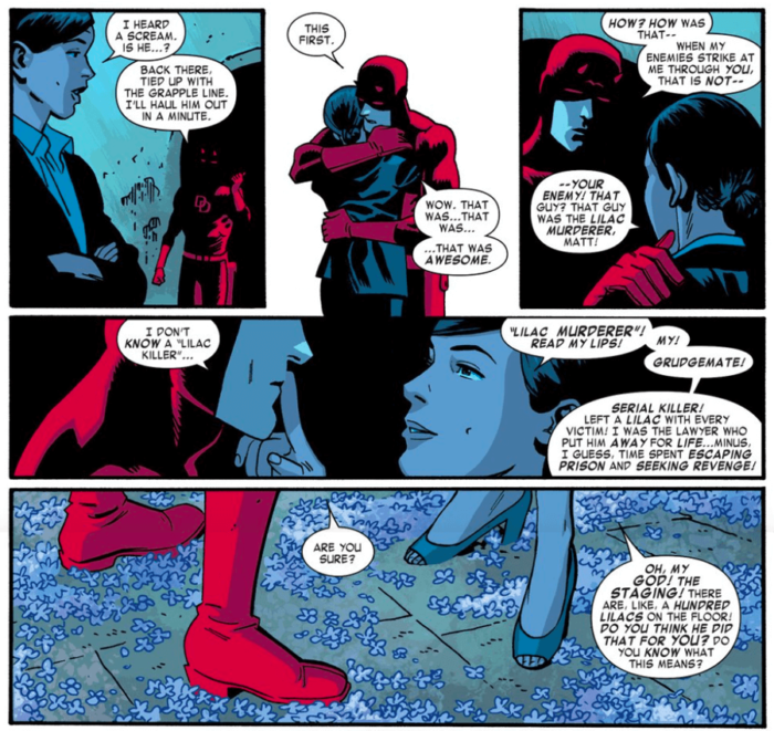 Daredevil and Kirsten embrace after fighting off a villain, in Daredevil #13 by Mark Waid and Chris Samnee