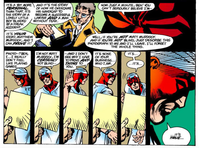 Ben Urich confronts Daredevil in Daredevil #164 by Roger McKenzie and Frank Miller