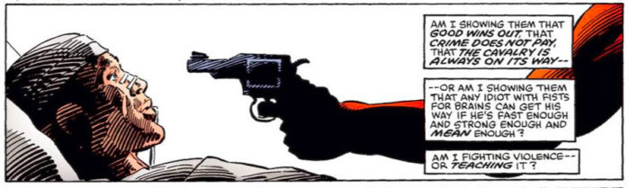 Daredevil and Bullseye, as seen in Daredevil #191 by Frank Miller
