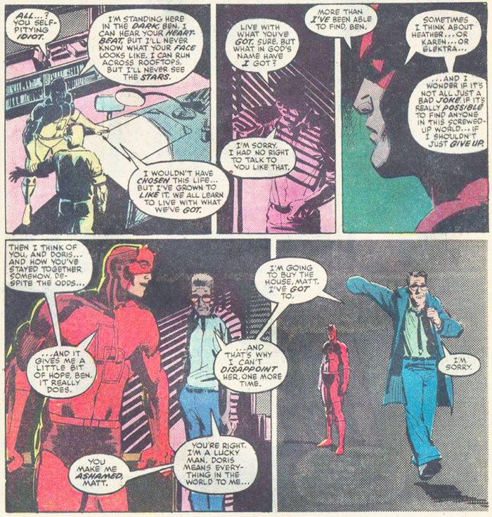 Daredevil and Ben Urich talking, from Daredevil #192 by Alan Brennert and Klaus Janson