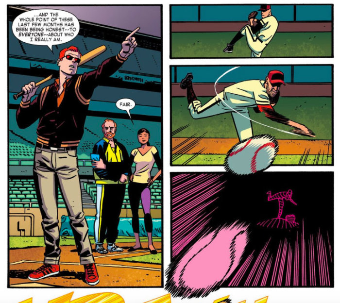 Matt playing baseball, as seen in Daredevil #14 by Mark Waid and Chris Samnee