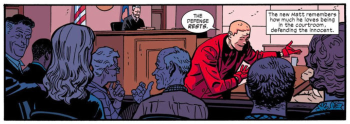 Matt-Devil in court in Daredevil #14 by Mark Waid and Chris Samnee