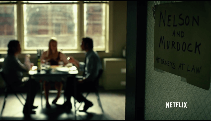 Matt, Foggy and Karen starting up a law firm, from the Daredevil trailer