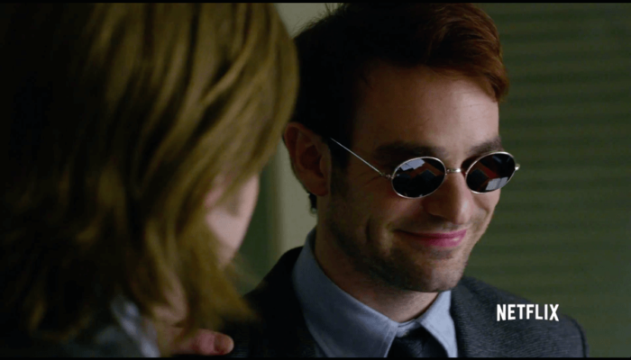 Matt smiling, shot from the Daredevil trailer
