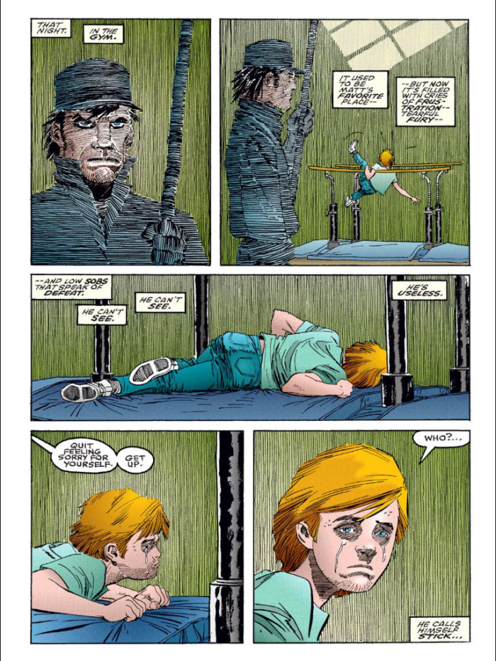 Matt is frustrated in the gym, as seen in Daredevil: The Man Without Fear #1, by Frank Miller and John Romita Jr