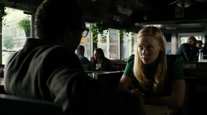 Ben and Karen meet at a diner, from Marvel's Daredevil, episode four