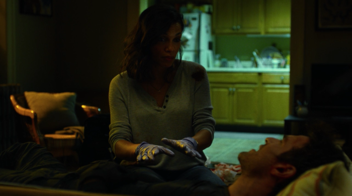 Claire is taking care of Matt who is on her couch, as seen in the second episode of Marvel's Daredevil