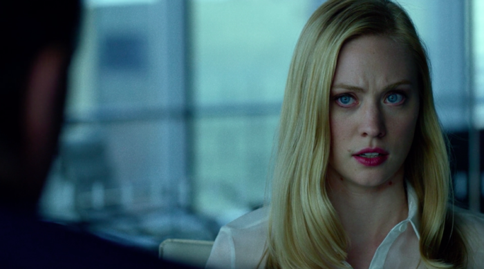 A skeptical Karen Page is contemplating an offer from her previous employer, as seen in the third episode of Marvel's Daredevil