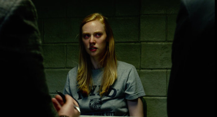 An incredulous Karen Page is sizing up her lawyers Matt and Foggy, as seen in the first episode of Marvel's Daredevil