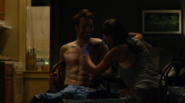 Claire stitches Matt up, as seen in the fourth episode of Marvel's Daredevil