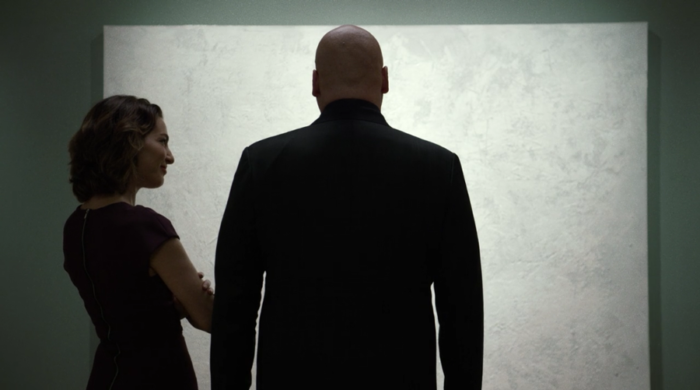 Vanessa and Wilson Fisk discuss art at her gallery, as seen in the third episode of Marvel's Daredevil