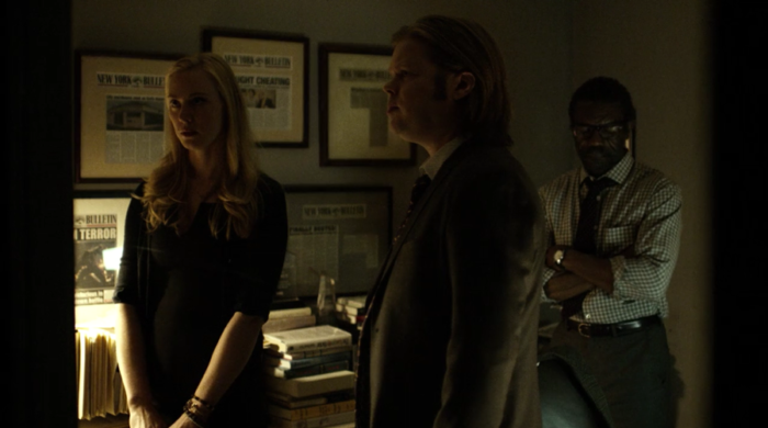 Foggy, Ben and Karen look at Ben's chart, as seen in episode seven of Marvel's Daredevil on Netlifx