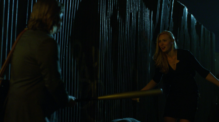 Foggy and Karen defend themselves against attackers outside Mrs. Cardenas' apartment, as seen in episode seven of Marvel's Daredevil on Netflix