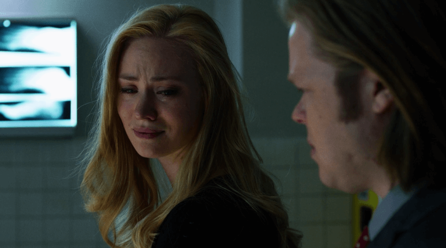 Karen is heartbroken after Elena's death, as seen in episode nine of Marvel's Daredevil on Netflix