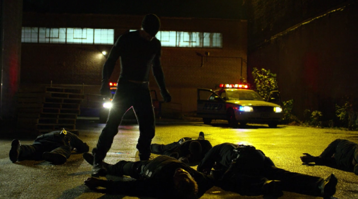 Matt after taking out all the cops, as seen in episode six of Marvel's Daredevil on Netflix