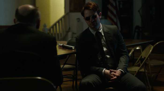 Matt has a latte with Father Lantom and they discuss the devil, as seen in episode nine of Marvel's Daredevil on Netflix