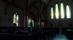 Matt speaks with Father Lantom, as seen in episode eleven of Marvel's Daredevil on Netflix