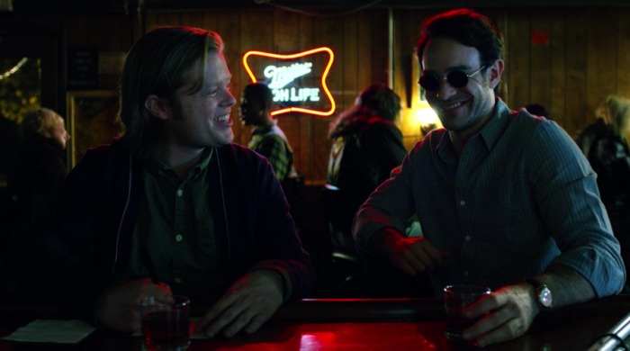 Matt and Foggy have drinks and talk about the future, as seen in episode ten of Marvel's Daredevil on Netflix
