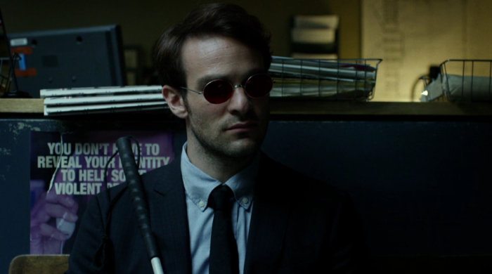 Matt listens to what's happening in a nearby interrogation room, as seen in Marvel's Daredevil on Netflix
