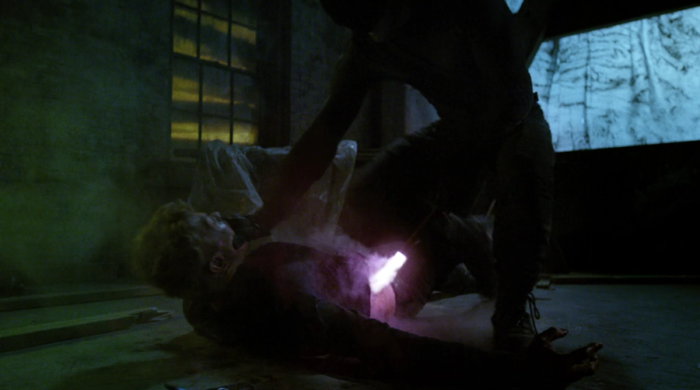 as seen in episode six of Matt cauterizes Vladimir's wound, as seen in Marvel's Daredevil on Netflix