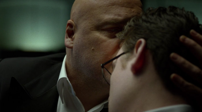 Fisk kisses Wesley on the forehead, from episode twelve of Marvel's Daredevil on Netflix