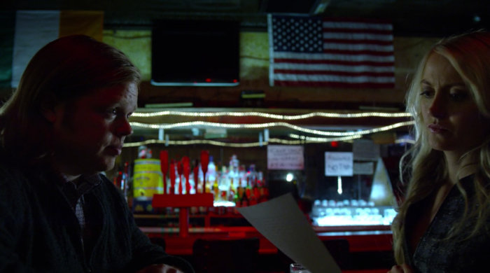 Foggy meets with Marci at Josie's bar, as seen in episode twelve of Marvel's Daredevil on Netflix