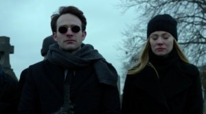Matt and Karen at Ben's funeral, as seen in episode thirteen of Marvel's Daredevil on Netflix