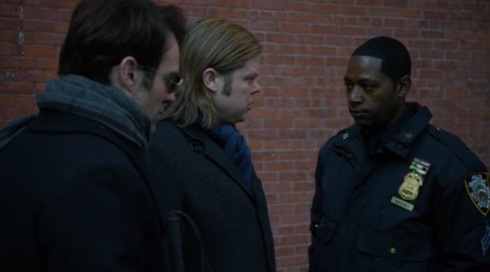 Matt and Foggy talk to Sgt. Brett Mahoney, as seen in episode thirteen of Marvel's Daredevil on Netflix