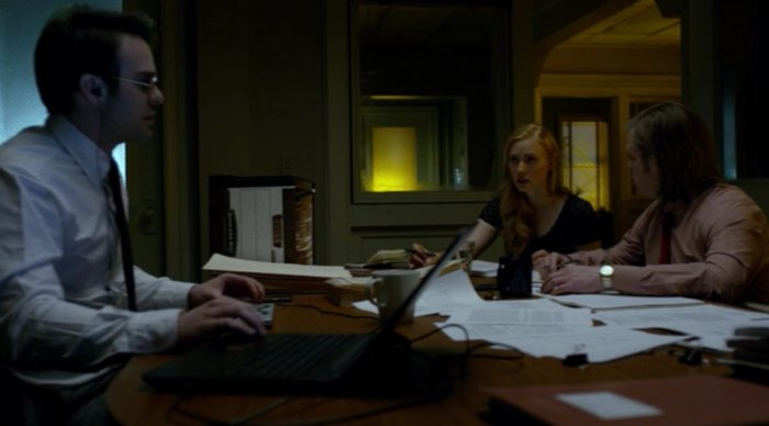 Matt, Foggy and Karen working in the conference room, as seen in episode thirteen of Marvel's Daredevil on Netflix