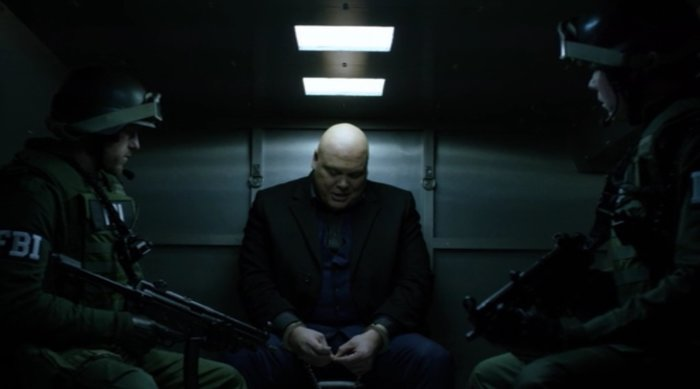 Fisk in an FBI van, as seen in episode thirteen of Marvel's Daredevil on Netflix