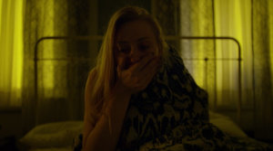 Karen wakes up from a bad dream, as seen in episode twelve of Marvel's Daredevil on Netflix