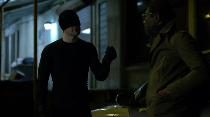 Matt, in the mask, has a talk with Ben Urich, From episode twelve of Marvel's Daredevil