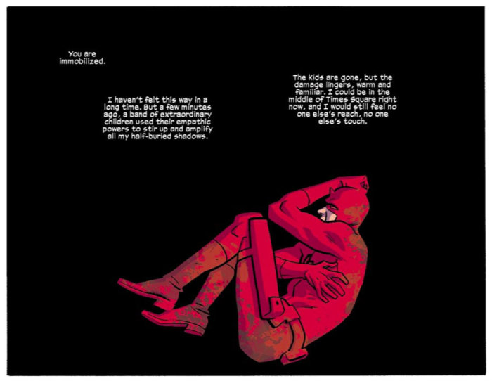 Matt in despair, as seen in Daredevil #10 (vol 4), by Mark Waid and Chris Samnee