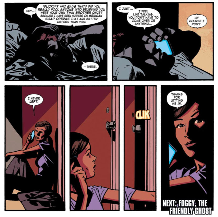 Kirsten waiting outside Matt's door, as seen in Daredevil #10 (vol 4), by Mark Waid and Chris Samnee