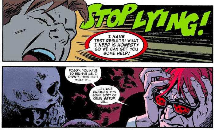 Foggy confronts Matt, as seen in Daredevil #16 (vol 3), by Mark Waid and Chris Samnee