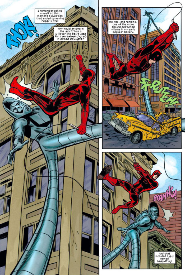 Daredevil battles Stilt-Man, as seen in Daredevil #17 (vol 3), by Mark Waid and Mike Allred