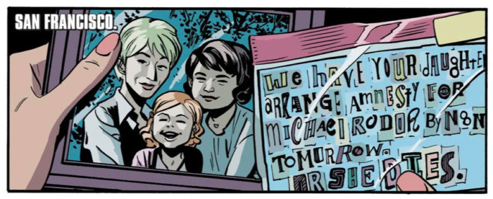The female deputy mayor of San Francisco with her wife and daughter, as seen in Daredevil #1 (vol 4), by Mark Waid and Chris Samnee