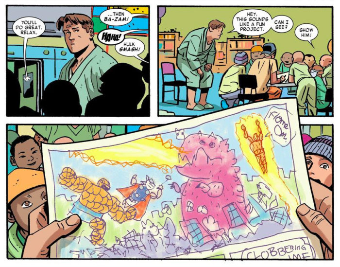 Foggy meets children with cancer, as seen in Daredevil #26 (vol 3), by Mark Waid and Chris Samnee