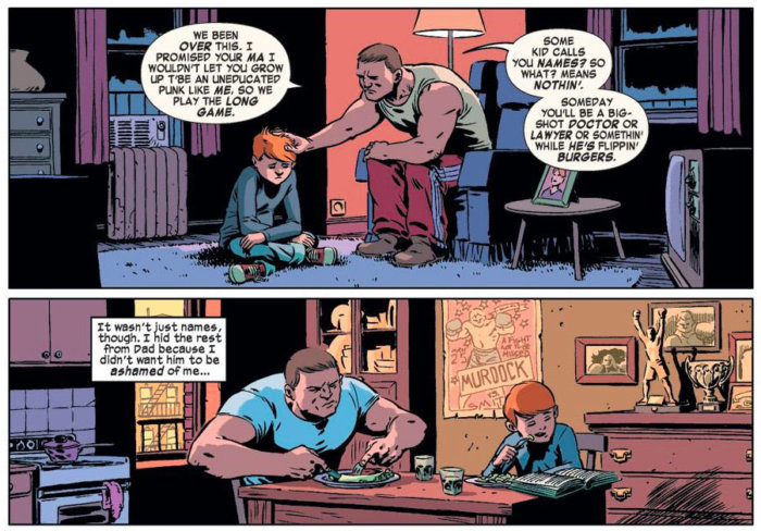 Flash-back to Matt's childhood, as seen in Daredevil #28 (vol 3), by Mark Waid and Javier Rodríguez