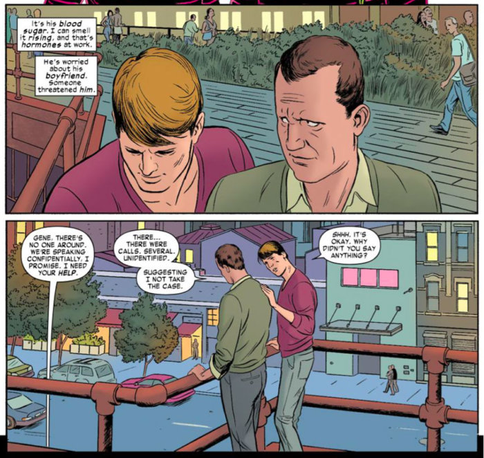 Daredevil seeks out a fellow lawyer and his boyfriend, in Daredevil #2 (vol 3) by Mark Waid and Paolo Rivera