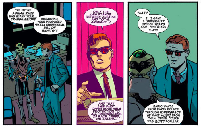 Matt recalls his old lecture about aliens and the legal system, as seen in Daredevil #30 (vol 3), by Mark Waid and Chris Samnee