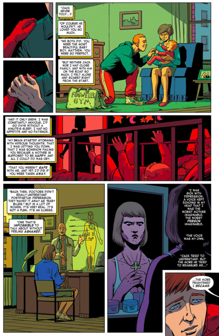 Sister Maggie talks about her post-partum depression, as seen in Daredevil #7 (vol 4), by Mark Waid and Javier Rodríguez